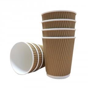 Disposable Kraft Ripple Cup 16oz (1x25)