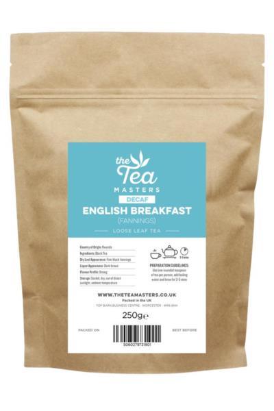 The Tea Masters Loose Leaf Tea - Decaf English Breakfast - Fannings (1x250g)