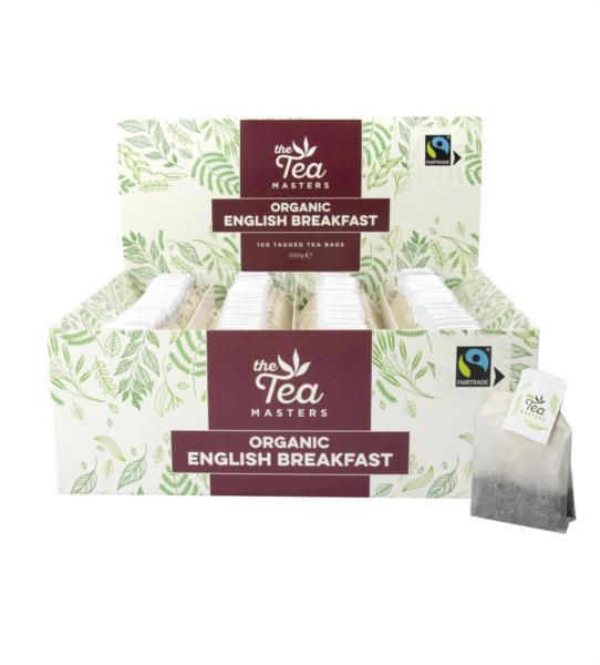 The Tea Masters Organic Tagged Teabags - English Breakfast (1x100)