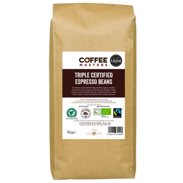 Coffee Masters - Triple Certified Organic Blend Coffee Beans (1x1kg)
