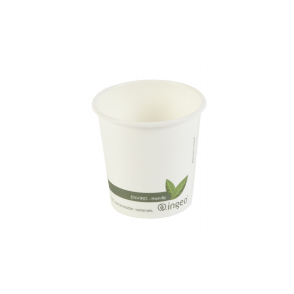Compostable White Single Wall Paper Cup 4oz (1000)
