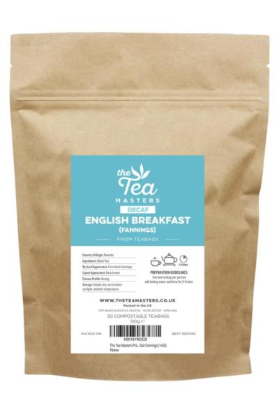 The Tea Masters Prism Teabags - Decaf English Breakfast - Fannings (1x50)