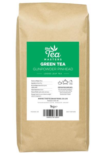 The Tea Masters Loose Leaf Tea - Green Tea - Gunpowder Pinhead (1x1kg)