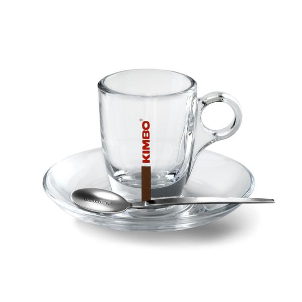 Kimbo Glass Espresso Cups (70ml/2.5oz) & Saucer (1x6)