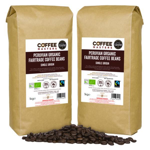 Coffee Masters - Peruvian Organic Fairtrade Coffee Beans (2x1kg)