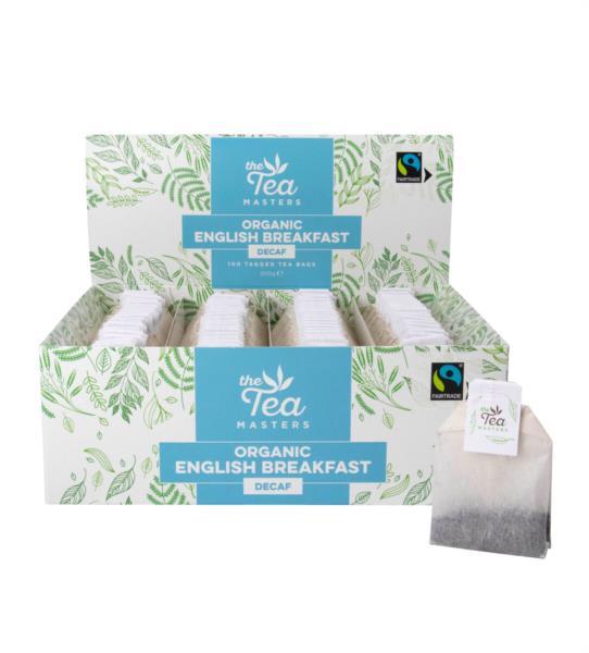 The Tea Masters Organic Tagged Teabags - Decaf Breakfast Tea (1x100)