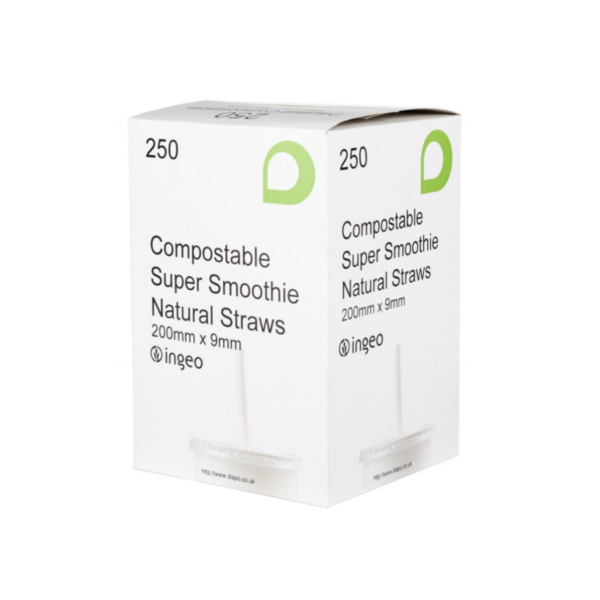 Compostable Smoothie Straws - Natural White 9mm (250)