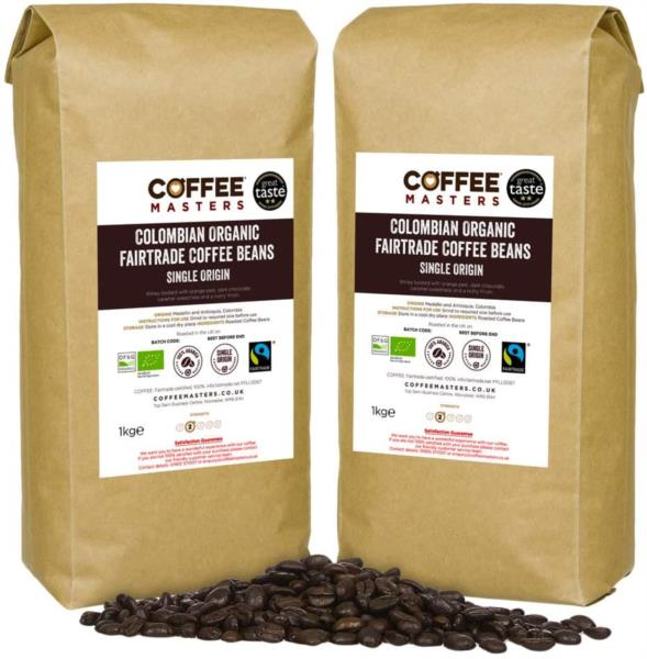 Coffee Masters - Colombian Organic Fairtrade Coffee Beans (6x1kg) photo 1