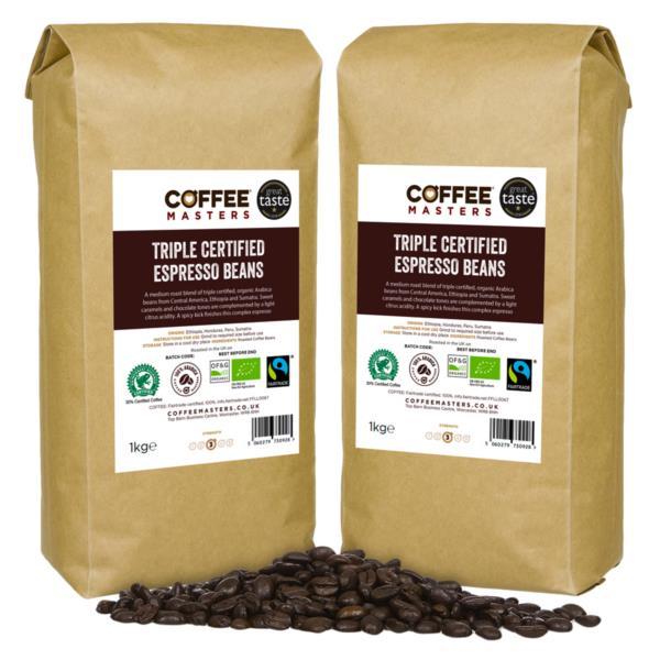 Coffee Masters - Triple Certified Organic Blend Coffee Beans (2x1kg)