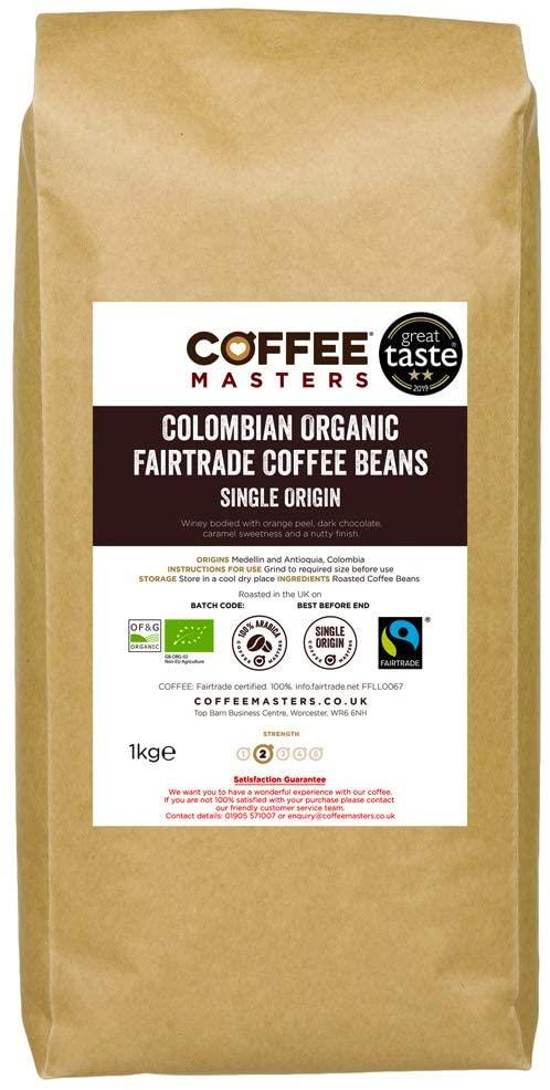 Coffee Masters - Colombian Organic Fairtrade Coffee Beans (1x1kg)