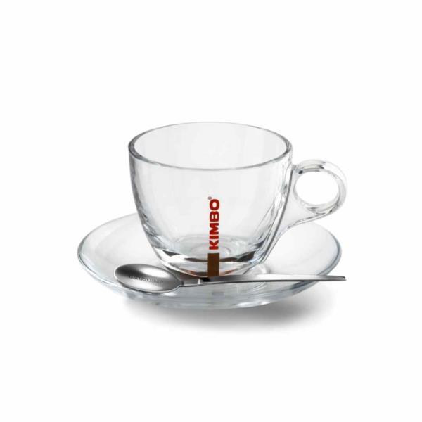 Kimbo Glass Cappuccino Cups (180ml/6oz)  & Saucer (1x6)