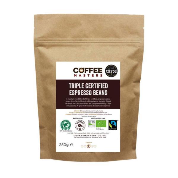 Coffee Masters - Triple Certified Organic Blend Coffee Beans (1x250g)