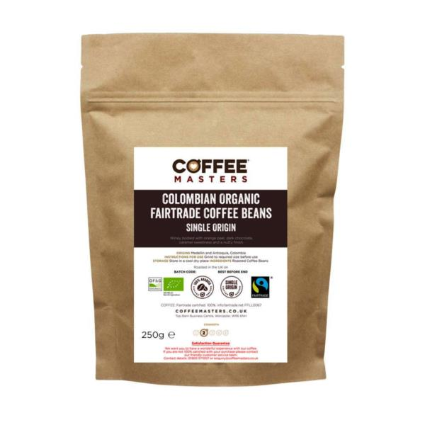 Coffee Masters - Colombian Organic Fairtrade Blend Coffee Beans (1x250g)